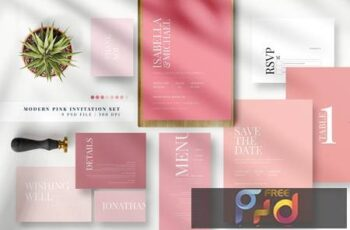 Modern Pink Invitation Set AE PGTS3HC 2