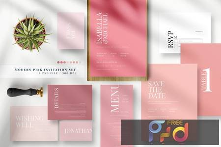 Modern Pink Invitation Set AE PGTS3HC 1