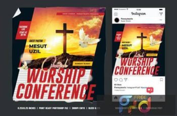 Church Conference Square Flyer & Instagram Post 3Q27G7Q 3