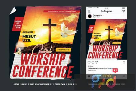 Church Conference Square Flyer & Instagram Post 3Q27G7Q 1