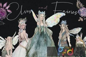 Elves and fairies - watercolor hand-drawn set AHXLVVU 1