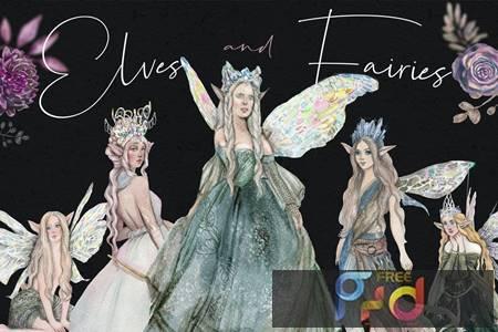 Elves and fairies - watercolor hand-drawn set AHXLVVU 1