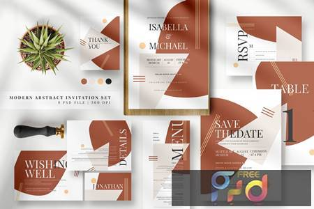 Modern Abstract Invitation Set AE ZFMD58G 1