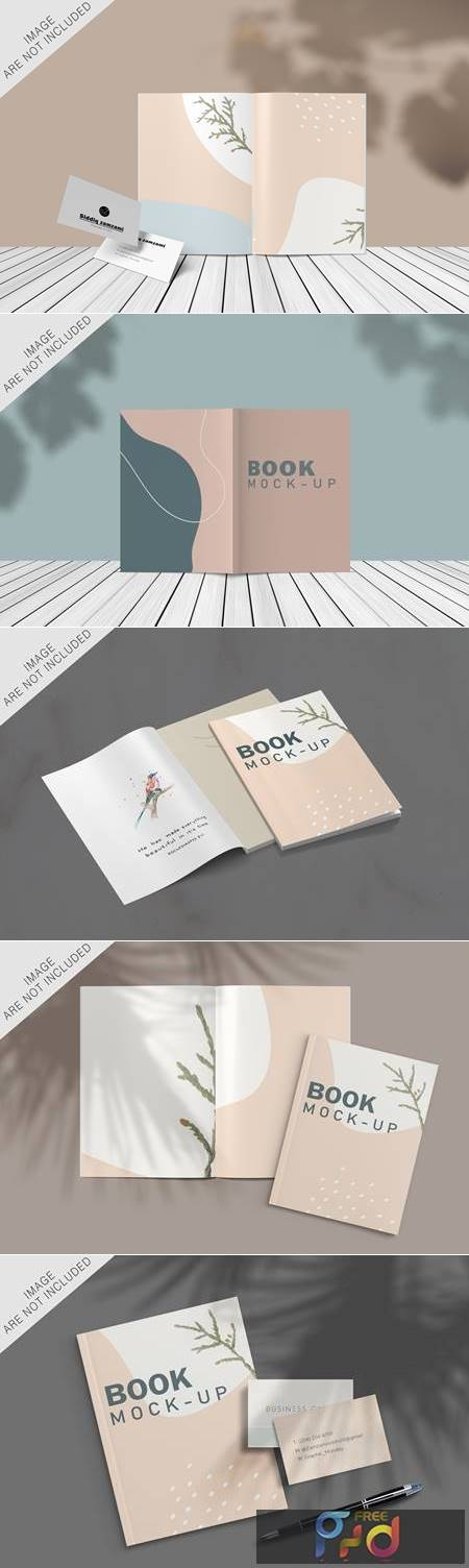 Book and business card mockup 1