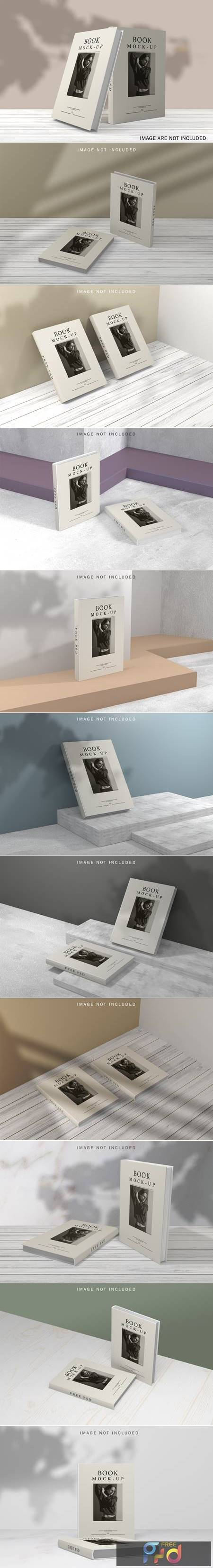 Book cover mockup with shadow overlay 1