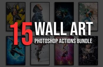 15 Wall Art Photoshop Actions Bundle 4828627 5