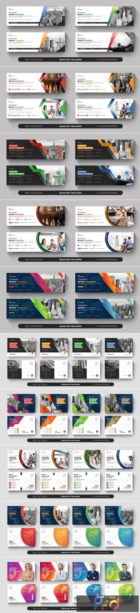 Corporate business postcard and banner templates 1