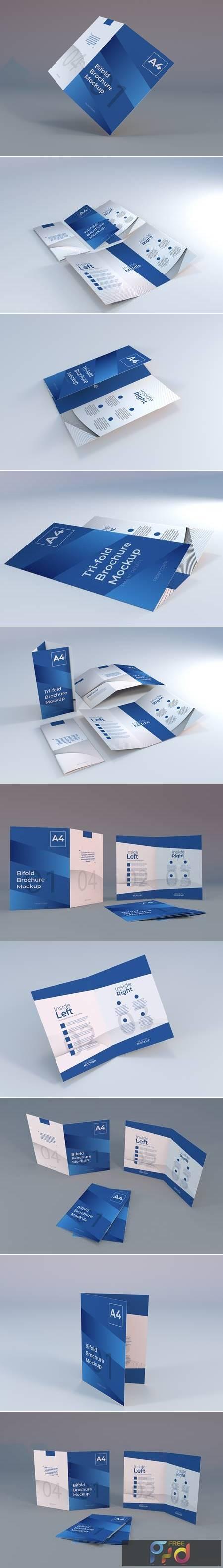 Realistic a4 bifold brochure paper mockup 1