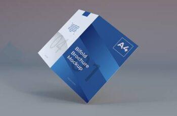 Realistic a4 bifold brochure paper mockup 7