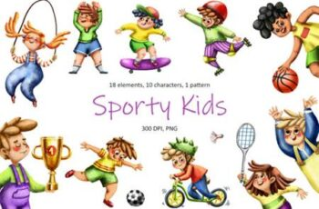 Sporty Kids - Clip Art Set 4031132 6