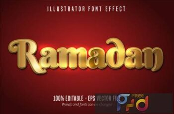 Ramadan Text Effect, Shiny Gold Alphabet 3943363 7