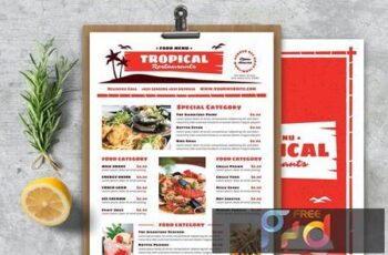 Vintage Tropical Food Menu RDSP99H 11