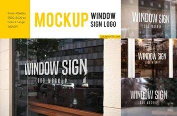 Window Sign Logo Mockup Set 4899035 6