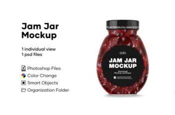 Clear Glass Jar w Strawberry Jam 4888298 4
