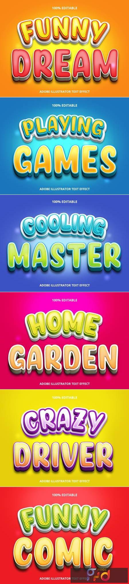 Editable font effect text collection illustration design 89 1