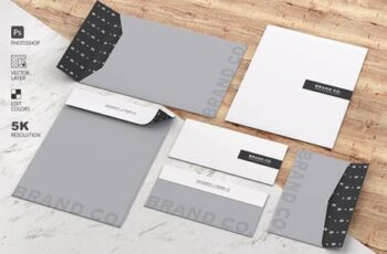 Mockup Stationery Kit on Wood and Ma 4579714 5