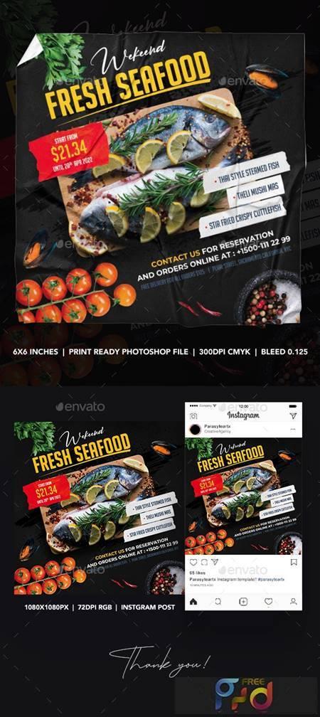 Seafood Square Flyer & Instagram Post 26340263 1