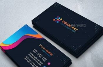 Modern Business Card with Colorful Shapes 26494123