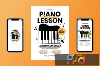 Online Piano Lesson Flyer Set FK5EP9R 1
