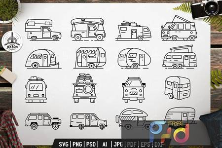 Vintage Camp Trailers Icons Bundle V79REF7 1