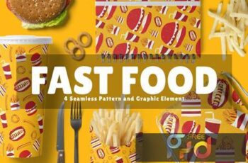 Fast Food Seamless Pattern and Graphic Element FANVVQ5 16