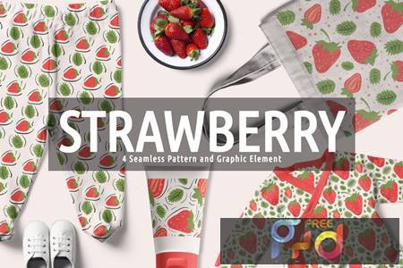 Strawberry Seamless Pattern And Graphic Element GLVZX54 1