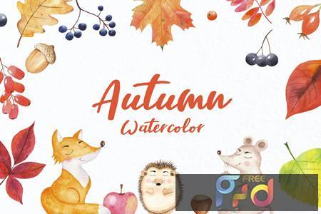 Watercolor Autumn and forest animals BWHNE7L 1