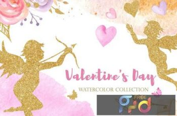 Watercolor Valentines Day Pink and Gold W3XHK8Y