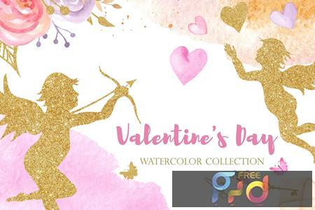 Watercolor Valentines Day Pink and Gold W3XHK8Y 1