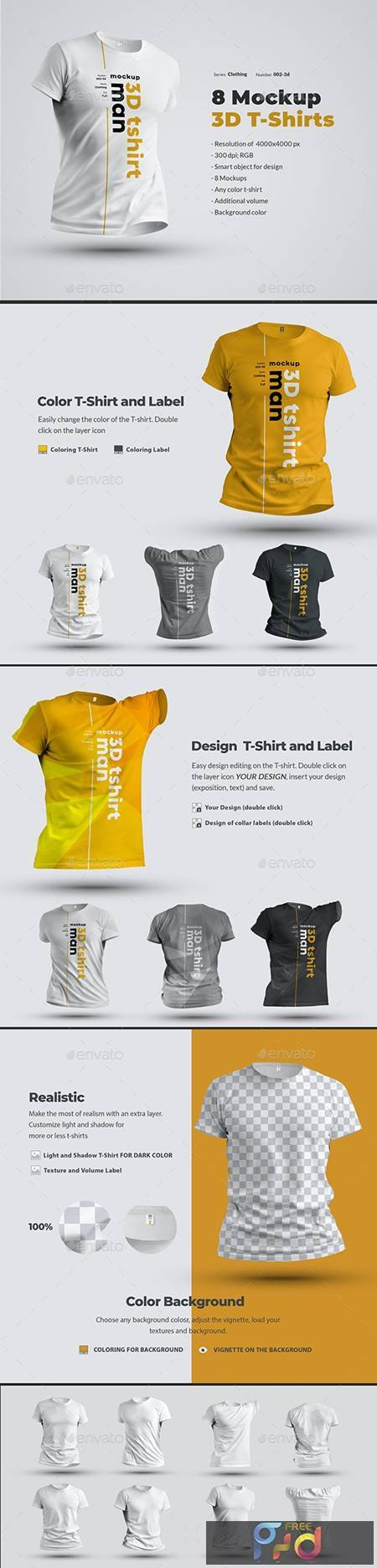 8 Mockups T-Shirts 3d Man 24638907 1