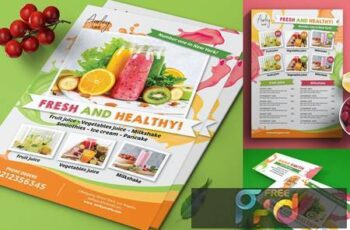 Juice Menu Flyer + Business Card AJVQ94Y 8