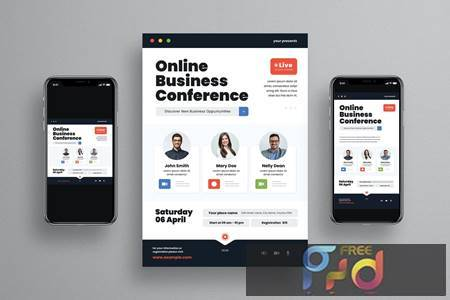 Online Business Conference Flyer Set 6CLLEAX 1
