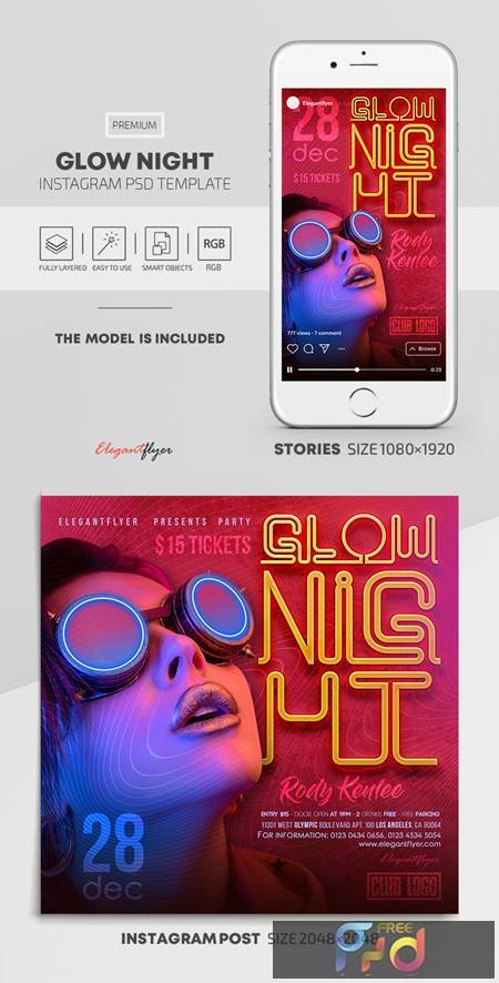 Glow Night - Premium PSD Flyer Template 115470 1