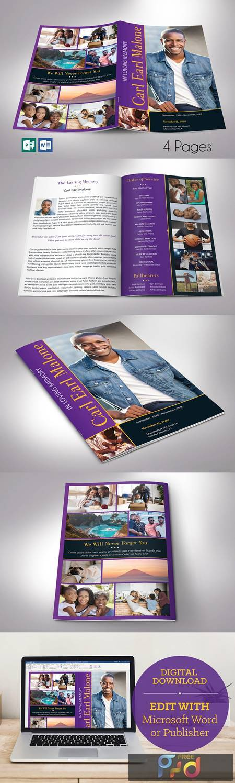 Purple Gold Funeral Program Word 4pg 4613025 1