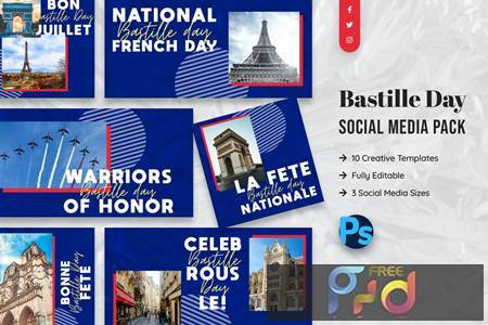 Bastille Day Social Media Template 8ZFQGGH 1