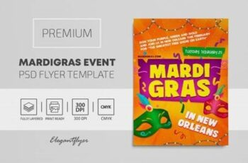 Mardi Gras – Premium PSD Flyer Template 117064 3