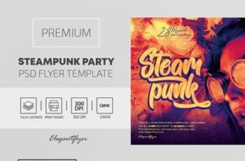 Steampunk Party – Premium PSD Flyer Template 116266 5