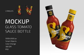 Glass Tomato Sauce Bottle Mockup Set 4998075 3