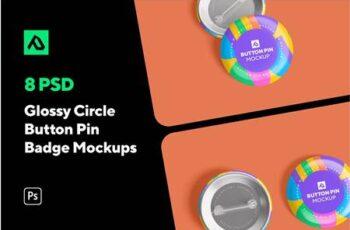 Glossy Circle Button Pin Badge Mockup Set 5000076