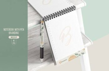 Notebook With Pen Branding Mockup NM2TE7W 5
