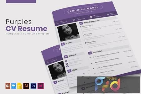 Purples - CV & Resume W6J4PKV 1