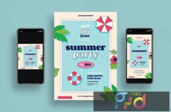 Summer Party Flyer + Social Media 3BDHQUW 14