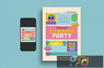 Virtual Summer Party Flyer Set F5ZV9Q6