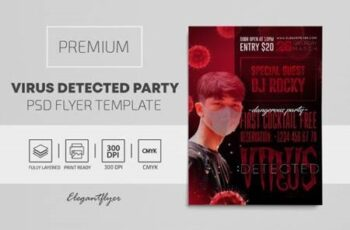 Virus Detected Party – Premium PSD Flyer Template 117779 13