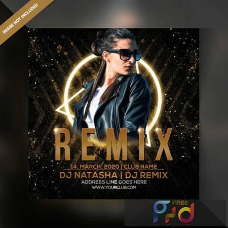 Dj remix party flyer Premium Psd 6378943 1