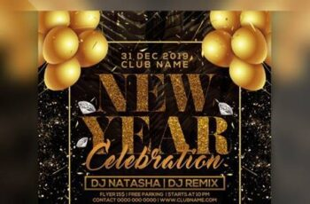 Happy new year party flyer Premium Psd 6297902 3
