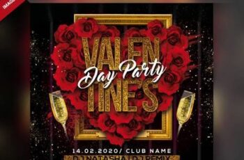 Valentines day party flyer Premium Psd 6425007