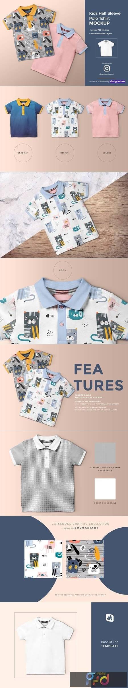 Kid's Half Sleeve Polo Tshirt Mockup 4432034 1