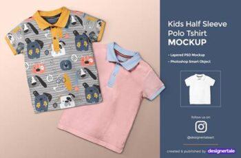 Kid's Half Sleeve Polo Tshirt Mockup 4432034 5