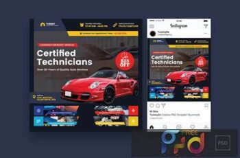 Car Repair Services Square Flyer & Instagram Post BW2DR6C